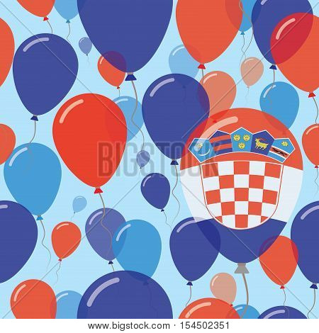 Croatia National Day Flat Seamless Pattern. Flying Celebration Balloons In Colors Of Croatian Flag.