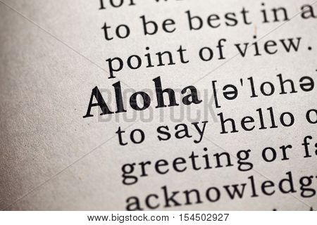 Fake Dictionary Dictionary definition of the word aloha.