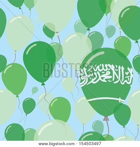 Saudi Arabia National Day Flat Seamless Pattern. Flying Celebration Balloons In Colors Of Saudi Arab