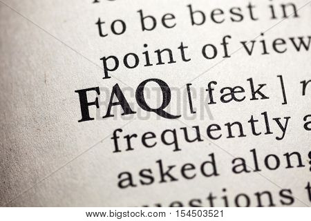 Fake Dictionary Dictionary definition of the word Frequently Asked Questions .