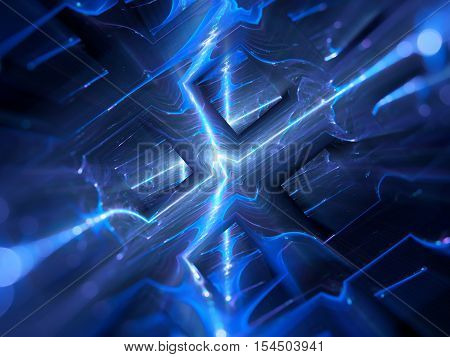 Blue glowing futuristic hardware in space new technology computer generated abstract background 3D render