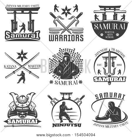 Nine isolated monochrome emblems set for samurai martial arts with torii swords and kimono symbols flat vector illustration