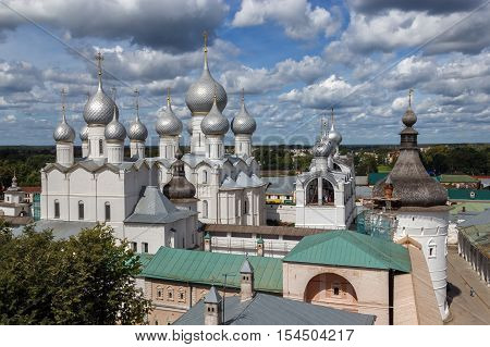 Golden Ring of Russia. Rostov Veliky. A view of ensemble of the Rostov Kremlin from the observation deck