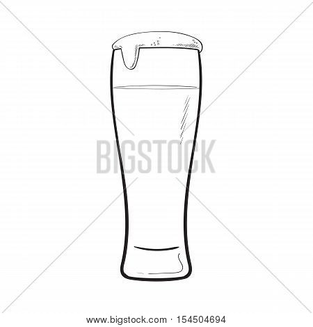 High glass of cold beer with foam and bubbles, sketch style vector illustration isolated on white background. Hand drawn frosty glass of ice cold beer, lager, ale, Oktoberfest symbol