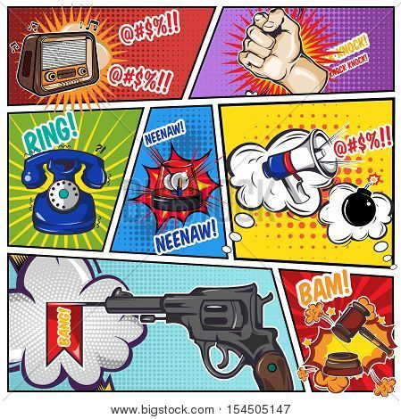 Comics book page with sound effects from phone radio gun on divided colored textured background vector illustration