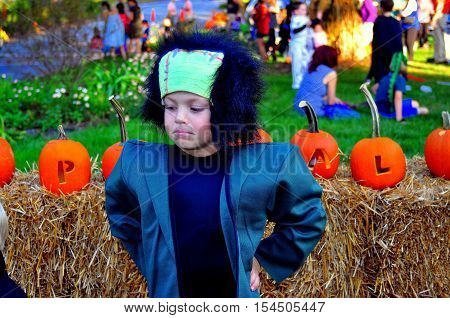 Pittsboro North Carolina - October 30 2016: Little boy dressed as Frankenstein at the annual Fearrington Village Halloween event