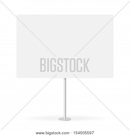 Blank whiteboard with empty copy space stand on one bar support. White billboard without frame for message commercial or presentation rectangle and horizontal. Mockup board with single stand in vector.
