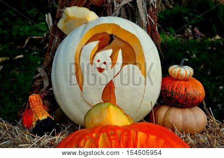 Pittsboro North Carolina - October 30 2016: Caspar the Ghost carved jack-o-lantern at the annual Fearrington Village Halloween event