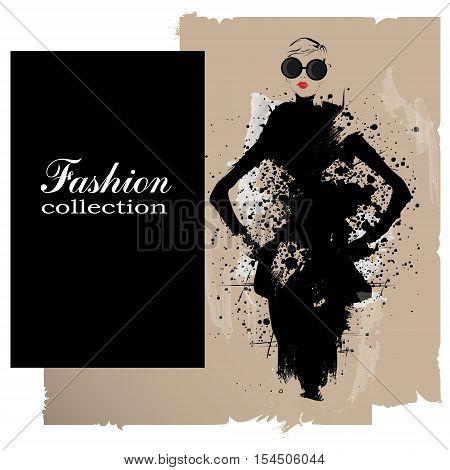 Fashion girl in sketch-style. Fashion woman portrait. Vector illustration.