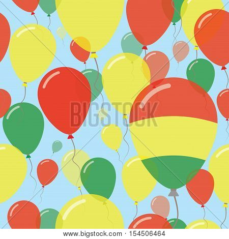 Bolivia National Day Flat Seamless Pattern. Flying Celebration Balloons In Colors Of Bolivian Flag.