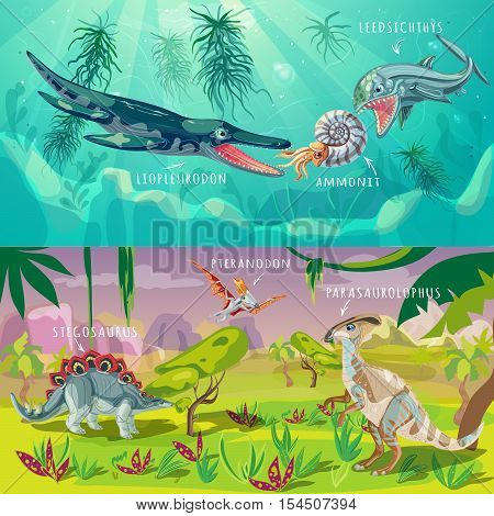 Beasts jurassic horizontal banners with underwater life and dinosaurs in tropical climate isolated vector illustration