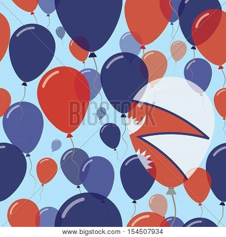 Nepal National Day Flat Seamless Pattern. Flying Celebration Balloons In Colors Of Nepalese Flag. Ha