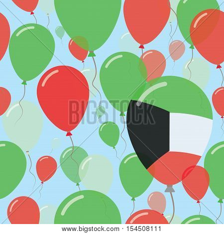 Kuwait National Day Flat Seamless Pattern. Flying Celebration Balloons In Colors Of Kuwaiti Flag. Ha
