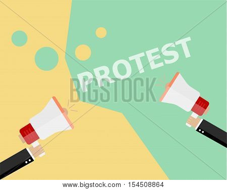 Hands holding protest signs and bullhorn crowd of people protesters background political politic crisis poster fists revolution placard concept symbol flat style