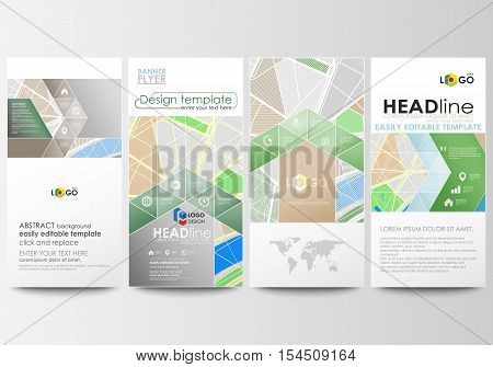 Flyers set, modern banners. Business templates. Cover design template, easy editable, abstract flat layouts. City map with streets. Flat design template for tourism businesses, abstract vector illustration.