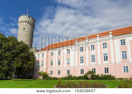 Herman Tower and Parliament building in center of Tallinn Estonia