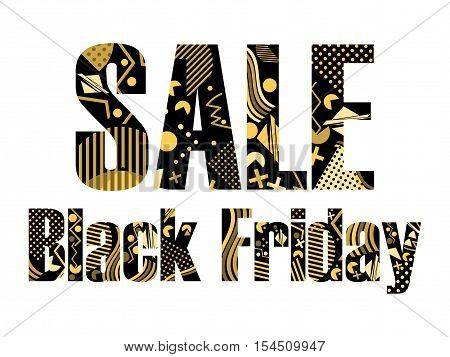 Black Friday Sale In The Memphis Style. Geometric Elements Memphis In The Style Of 80's. Vector Illu