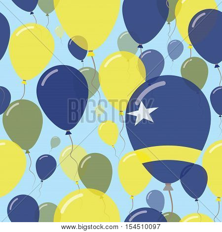 Curacao National Day Flat Seamless Pattern. Flying Celebration Balloons In Colors Of Dutch Flag. Hap