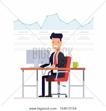 Businessman or manager analyzes the schedule. Successful entrepreneur is engaged arbitrage traffic. Man on a workplace computer. Vector, illustration EPS10