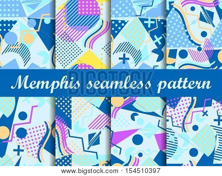 Memphis Seamless Pattern. Geometric Elements Memphis In The Style Of 80's. Set Vector Illustration.