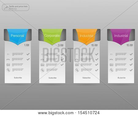 Set tariffs banners. Web pricing table. Vector design for web app. 4 colored banners.