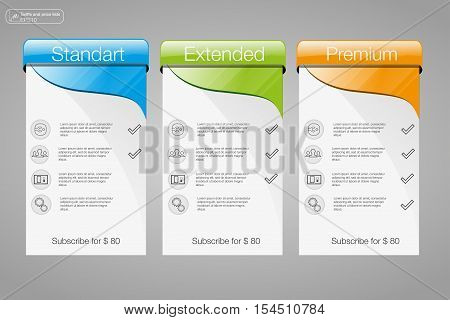 Three banner price list interface for the site. vector banner for web app. 3 position.