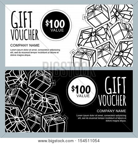 Vector Gift Voucher Template With Gift Box Patches And Stickers.