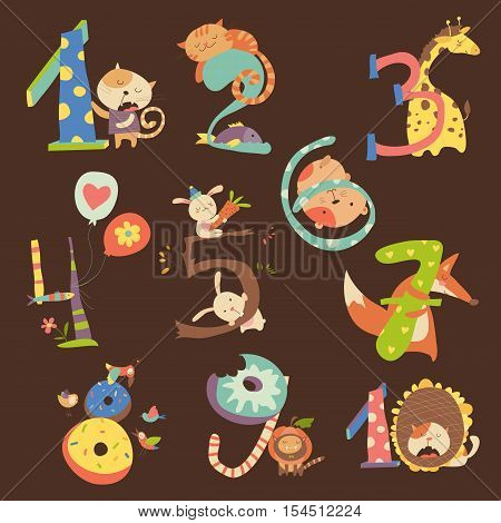 Cartoon Set Illustration of Birthday Anniversary Numbers with Funny Animals