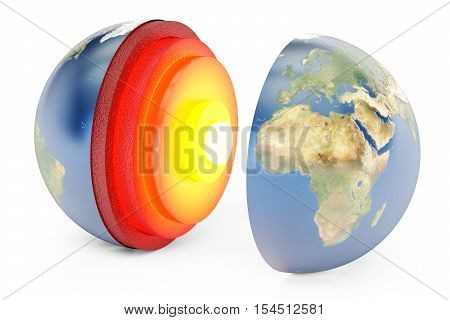 structure of earth concept 3D rendering isolated on white background