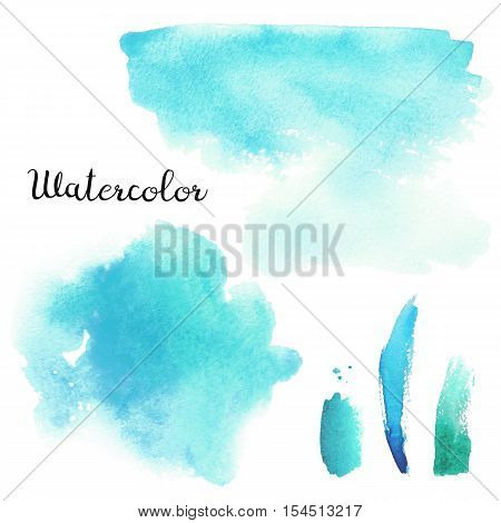 Set of blue and turquoise watercolor blots isolated on white background. Watercolor blots for your design logo emblem banner.