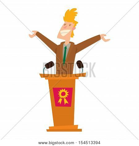 Orator speaks with broad gestures behind podium. Speaker makes report to public and press politicians people. Eloquent speech before an audience. Oratory politician politicians people.