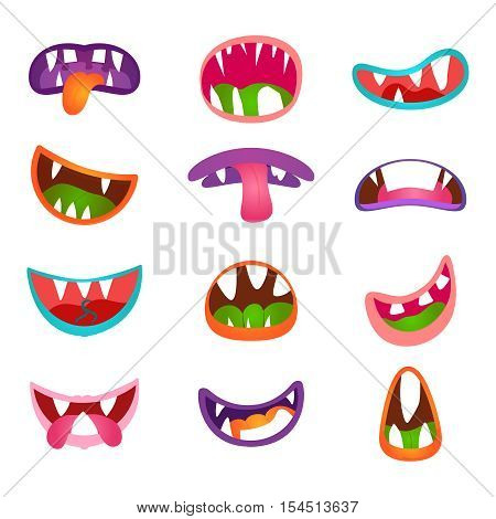Cute animal face expressions and emotions. Funny cartoon monster comic mouth set. Monsters mouth icon and cartoon mounth with teeth