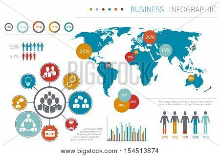 Business people world map infographic vector illustration, Business map with element graphic and chart. Template map with data report