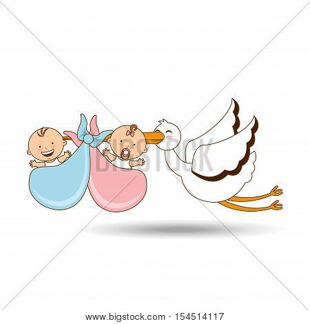 twins stork birth cartoon design vector illustraion eps 10