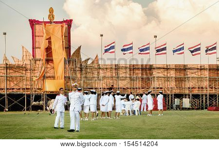 Bangkok, Thailand - December 5, 2015: Unidentified students of the Royal Thai Navy in birthday celebration King of Thailand on December 5 2015 in Sanam Luang Bangkok Thailand.