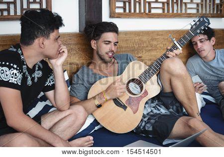 ARRAIAL DO CABO BRAZIL 5 SEPTEMBER 2016: 3 musicians writing songs