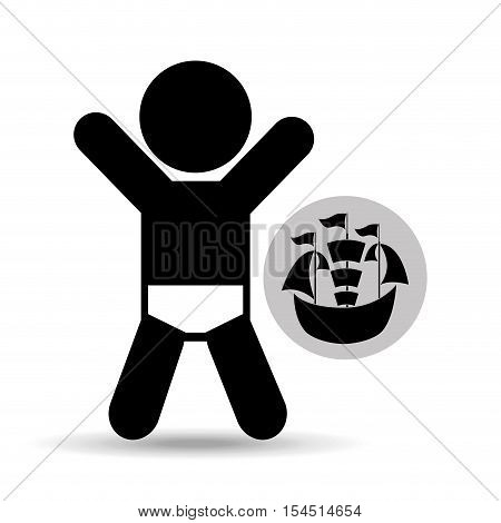 cheerful baby silhouette and vector illustration eps 10