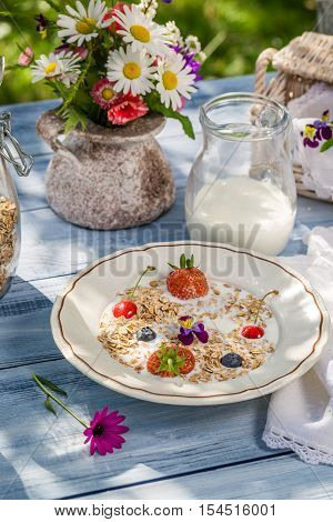 Countryside breakfast in the garden on old wooden table