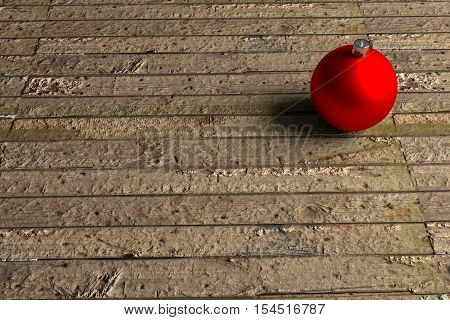 rendered red Christmas bauble on the old moldy brown green rough uneven planks, 3d rendering