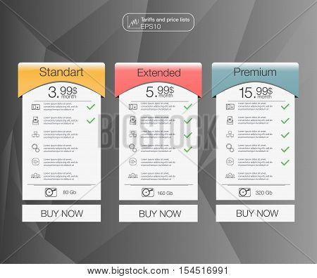 Three tariffs banners. Web pricing table. Vector design for web app. Set tariffs. Plan for website in flat design.