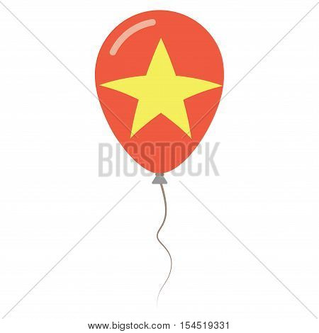 Socialist Republic Of Vietnam National Colors Isolated Balloon On White Background. Independence Day