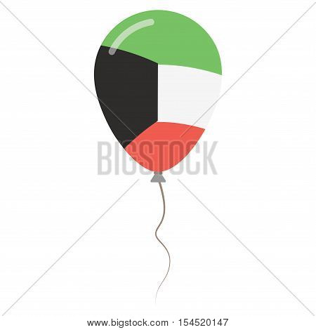 State Of Kuwait National Colors Isolated Balloon On White Background. Independence Day Patriotic Pos
