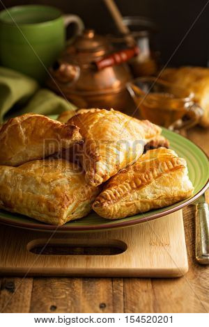 Freshly baked homemade cheese savory pastries in rustic setting