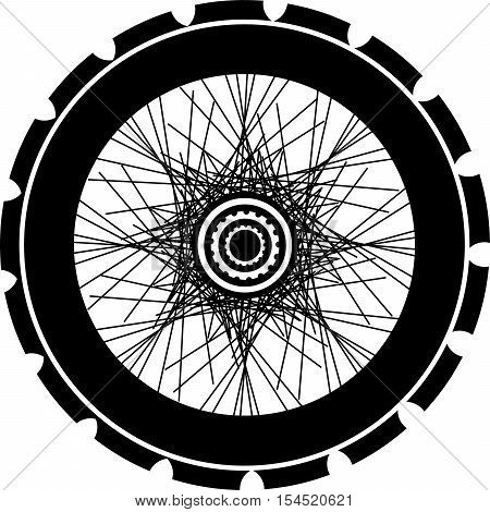 Bike Wheel Black Silhouette. Bicycle Wheels With Tyre And Spokes. Isolated On White
