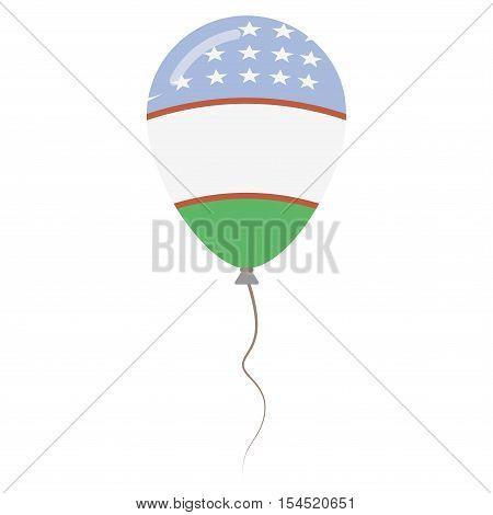 Republic Of Uzbekistan National Colors Isolated Balloon On White Background. Independence Day Patrio