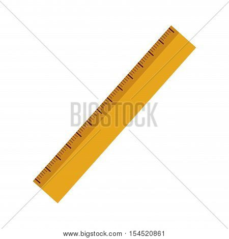 yellow ruler with centimeter scale over white background. vector illustration