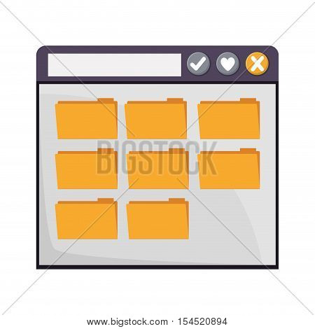 internet browse window with files folders icons over white background. vector illustration