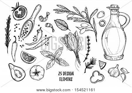 Hand Drawn Vector Illustrations - Ingredients Of Pizza. Olive Oil, Olives, Shrimps, Tomato, Basil, R