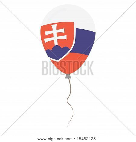Slovak Republic National Colors Isolated Balloon On White Background. Independence Day Patriotic Pos