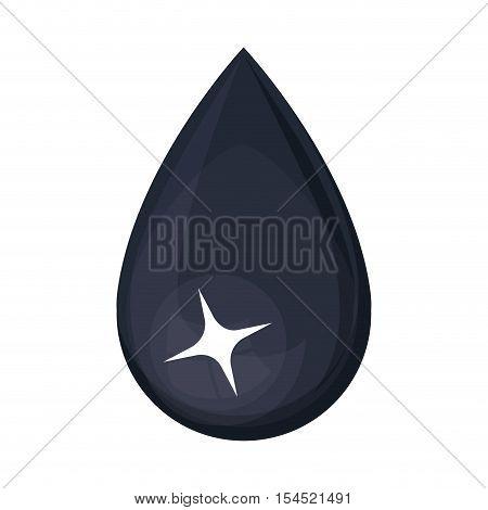 shiny black oil drop over white background. vector illustration